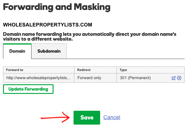 Forwarding masking save